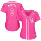 Cheap Rockies #9 Daniel Murphy Pink Fashion Women's Stitched MLB Jersey
