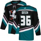 Cheap Adidas Ducks #36 John Gibson Black/Teal Alternate Authentic Youth Stitched NHL Jersey