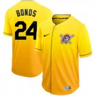 Cheap Nike Pirates #24 Barry Bonds Gold Fade Authentic Stitched MLB Jersey