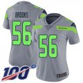 Cheap Nike Seahawks #56 Jordyn Brooks Gray Women's Stitched NFL Limited Inverted Legend 100th Season Jersey