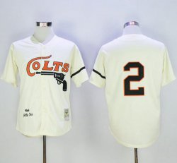 Cheap Mitchell and Ness Colt.45s #2 Fox Stitched Cream Throwback MLB Jersey