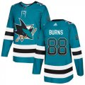 Cheap Adidas Sharks #88 Brent Burns Teal Home Authentic Drift Fashion Stitched NHL Jersey