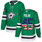 Cheap Adidas Stars #45 Roman Polak Green Home Authentic USA Flag Youth Stitched NHL Jersey