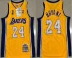 Cheap Men's Los Angeles Lakers #24 Kobe Bryant Yellow Champion Patch 2008-09 Hardwood Classics Soul AU Throwback Jersey