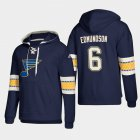 Cheap St. Louis Blues #6 Joel Edmundson Blue adidas Lace-Up Pullover Hoodie