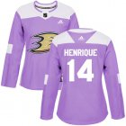 Cheap Adidas Ducks #14 Adam Henrique Purple Authentic Fights Cancer Women's Stitched NHL Jersey