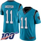 Cheap Nike Panthers #11 Robby Anderson Blue Youth Stitched NFL Limited Rush 100th Season Jersey