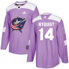 Cheap Adidas Blue Jackets #14 Gustav Nyquist Purple Authentic Fights Cancer Stitched Youth NHL Jersey