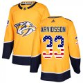 Cheap Adidas Predators #33 Viktor Arvidsson Yellow Home Authentic USA Flag Stitched Youth NHL Jersey