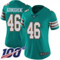Cheap Nike Dolphins #46 Noah Igbinoghene Aqua Green Alternate Women's Stitched NFL 100th Season Vapor Untouchable Limited Jersey