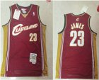 Cheap Men's Cleveland Cavaliers #23 LeBron James 2003-04 Burgundy Red Hardwood Classics Soul Swingman Throwback Jersey
