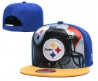 Cheap Steelers Team Logo Blue Yellow Adjustable Leather Hat TX