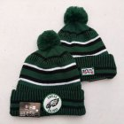 Cheap Eagles Team Logo Green 100th Season Pom Knit Hat YD