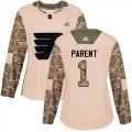 Cheap Adidas Flyers #1 Bernie Parent Camo Authentic 2017 Veterans Day Women's Stitched NHL Jersey