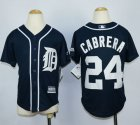 Cheap Tigers #24 Miguel Cabrera Navy Blue Cool Base Stitched Youth MLB Jersey