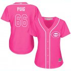 Cheap Reds #66 Yasiel Puig Pink Fashion Women's Stitched MLB Jersey