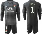 Cheap Lyon #1 Lopes Black Goalkeeper Long Sleeves Soccer Club Jersey