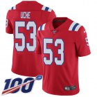 Cheap Nike Patriots #53 Josh Uche Red Alternate Youth Stitched NFL 100th Season Vapor Untouchable Limited Jersey