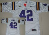 Cheap LSU Tigers #42 Michael Ford White Jersey