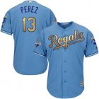 Cheap Royals #13 Salvador Perez Light Blue 2015 World Series Champions Gold Program Cool Base Stitched Youth MLB Jersey