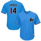 Cheap Marlins #14 Martin Prado Blue Cool Base Stitched Youth MLB Jersey