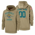 Cheap Jacksonville Jaguars Custom Nike Tan 2019 Salute To Service Name & Number Sideline Therma Pullover Hoodie