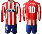 Cheap Atletico Madrid #10 Carrasco Home Long Sleeves Soccer Club Jersey