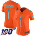 Cheap Nike Dolphins #1 Tua Tagovailoa Orange Women's Stitched NFL Limited Inverted Legend 100th Season Jersey