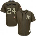 Cheap Athletics #24 Rickey Henderson Green Salute to Service Stitched Youth MLB Jersey