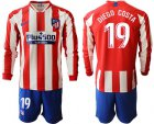 Cheap Atletico Madrid #19 Diego Costa Home Long Sleeves Soccer Club Jersey