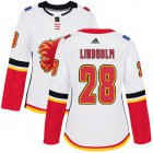 Cheap Adidas Flames #28 Elias Lindholm White Road Authentic Women's Stitched NHL Jersey