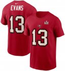 Cheap Men's Tampa Bay Buccaneers Mike Evans Nike Red Super Bowl LV Champions Name & Number T-Shirt