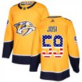 Cheap Adidas Predators #59 Roman Josi Yellow Home Authentic USA Flag Stitched Youth NHL Jersey