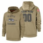 Cheap Seattle Seahawks Custom Nike Tan 2019 Salute To Service Name & Number Sideline Therma Pullover Hoodie