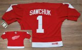 Cheap Red Wings #1 Terry Sawchuk Stitched Red CCM Throwback NHL Jersey