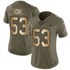 Cheap Nike Patriots #53 Josh Uche Olive/Gold Women's Stitched NFL Limited 2017 Salute To Service Jersey