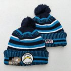 Cheap Chargers Team Logo Blue 100th Season Pom Knit Hat YD