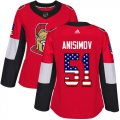 Cheap Adidas Senators #51 Artem Anisimov Red Home Authentic USA Flag Women's Stitched NHL Jersey