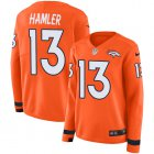 Cheap Nike Broncos #13 KJ Hamler Orange Team Color Women's Stitched NFL Limited Therma Long Sleeve Jersey