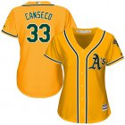 Cheap Athletics #33 Jose Canseco Gold Alternate Women's Stitched MLB Jersey