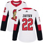 Cheap Adidas Senators #22 Nikita Zaitsev White Road Authentic Women's Stitched NHL Jersey