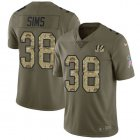 Cheap Nike Bengals #38 LeShaun Sims Olive/Camo Youth Stitched NFL Limited 2017 Salute To Service Jersey