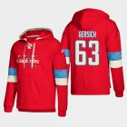 Cheap Washington Capitals #63 Shane Gersich Red adidas Lace-Up Pullover Hoodie