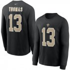 Cheap New Orleans Saints #13 Michael Thomas Nike Player Name & Number Long Sleeve T-Shirt Black