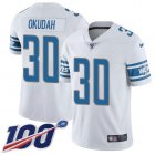 Cheap Nike Lions #30 Jeff Okudah White Youth Stitched NFL 100th Season Vapor Untouchable Limited Jersey