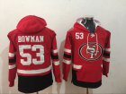 Cheap Men's San Francisco 49ers #53 NaVorro Bowman NEW Red Pocket Stitched NFL Pullover Hoodie