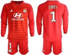 Cheap Lyon #1 Lopes Red Goalkeeper Long Sleeves Soccer Club Jersey