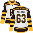 Cheap Adidas Bruins #63 Brad Marchand White Authentic 2019 Winter Classic Women's Stitched NHL Jersey