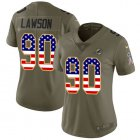Cheap Nike Dolphins #90 Shaq Lawson Olive/USA Flag Women's Stitched NFL Limited 2017 Salute To Service Jersey
