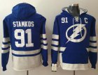 Cheap Lightning #91 Steven Stamkos Blue Name & Number Pullover NHL Hoodie